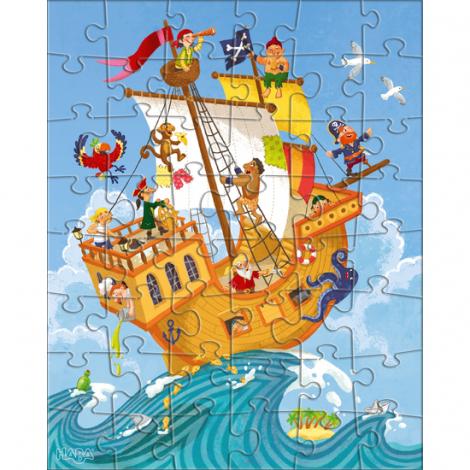 Puzzles 48 pièces - pirate et compagnie - 3 puzzles - à partir de 5 ans