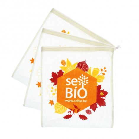 3 sacs à fruits et légumes en coton BIO Automne