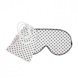 Masque de sommeil en coton BIO - Blanc à pois noirs