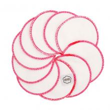 Disques démaquillants lavables en coton organique  - Nature avec liseré rose - lot de 10