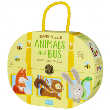 Valisette livre et puzzle en voyage - Le bus des animaux - à partir de 3 ans