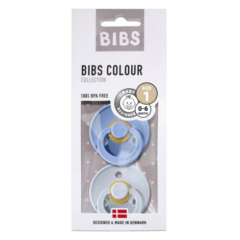 Set de 2 tétines BIBS - sky blue & baby blue en caoutchouc naturel