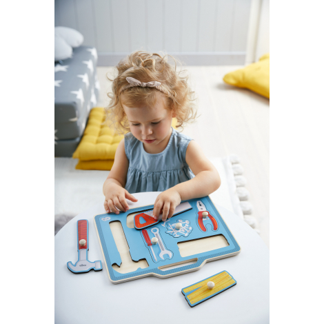 Puzzle en bois à encastrement - Caisse à outils - à partir de 12 mois