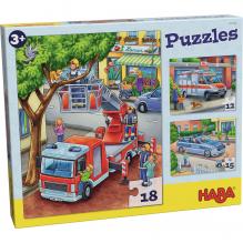 Puzzles Police, pompiers et ambulance - lot de 3 puzzles - à partir de 3 ans