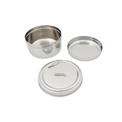 Boîte ronde en inox avec assiette incluse - Panipat - 1000 ml