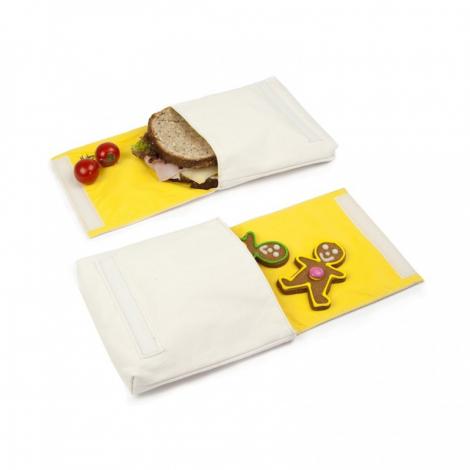 Snack pack: pochette alimentaire en coton BIO - motif fille et garçon - lot de 2