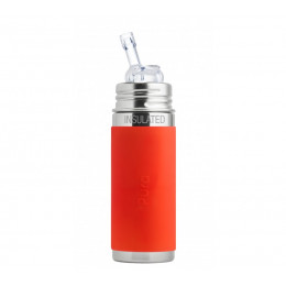 Biberon isotherme évolutif inox 260 ml - Paille - Orange