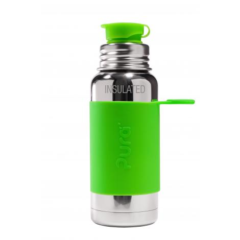 Gourde bouteille isotherme en inox - modèle sport - 475 ml - Vert
