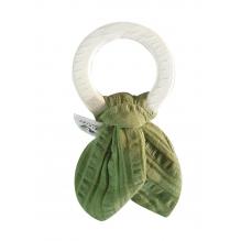 Anneau de dentition en caoutchouc naturel à feuilles froissées - Vert - dès la naissance