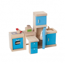 Cuisine bois coloré maison poupée - à partir de 3 ans