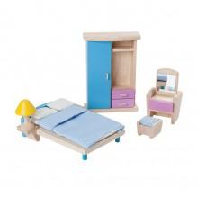 Chambre parentale bois coloré maison de poupée - à partir de 3 ans