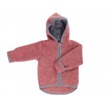 Gilet veste à capuche - Polaire de laine - Vintage Red