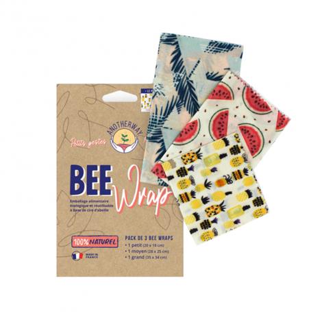 Film alimentaire réutilisable en cire d'abeilles - Set de 3 tailles - Tropical Fruits