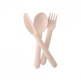 Set de 3 couverts enfant en fibre de Bambou biodégradable ( fourchette, cuillère, couteau ) 18 x 5 x 2 cm