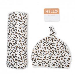 Swaddler et bonnet Hello World - Leopard