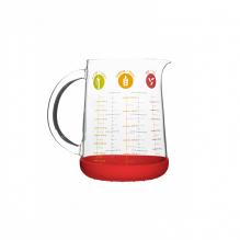 Verre doseur en verre avec poignée et base en silicone rouge -  1L