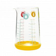 Verre doseur en verre avec base en silicone jaune - 500 ml