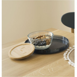 Bol à mixer rond en verre avec couvercle en bambou - 0,77 L