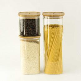 Plat en verre carré avec couvercle en bambou - 2,2 L