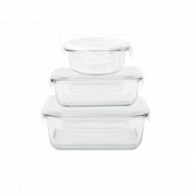 Set de 3 plats en verre avec couvercle - carré / rond / rectangulaire