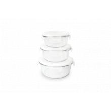 Set de 3 plats ronds en verre avec couvercle - 400 ml / 620 ml / 950 ml