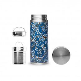 Théière nomade isotherme en inox 400 ml - Fleurs bleues