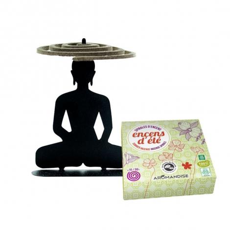 Porte spirales d'encens Bouddha + 10 spirales