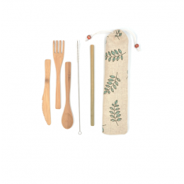 Set de couverts et paille en bambou - Trousse feuilles