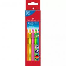 5 crayons surligneurs en bois grip neon Fluo