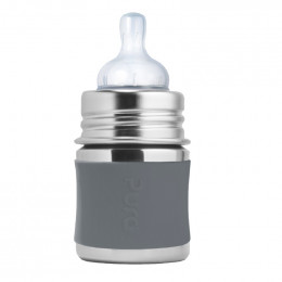 Biberon évolutif en inox - 150 ml - Tétine - Gris