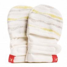 Moufles réversibles anti-griffures - 0-3 mois - lignes taupes et jaunes