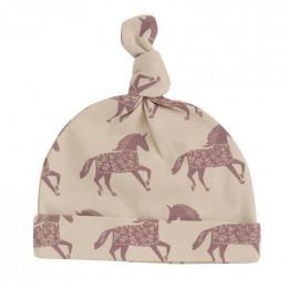 Bonnet en coton BIO - Chevaux rose