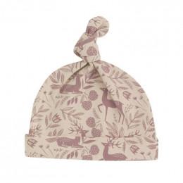 Bonnet en coton BIO - Cerf rose