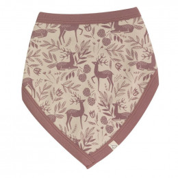 Bavoir bandana en coton Bio  - Cerf rose