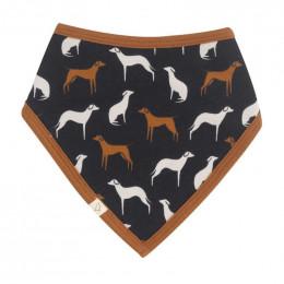 Bavoir bandana en coton Bio  - Dogs navy