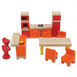 Cuisine et salle à manger en bois pour maison de poupée - à partir de 3 ans