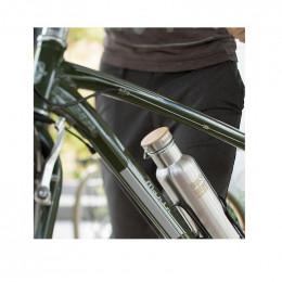 Gourde bouteille en inox  - 800 ml - brossé - bouchon bambou