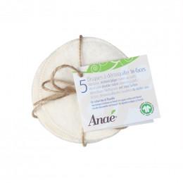 5 disques à démaquiller lavables - Bi faces Coton Bio et flanelle