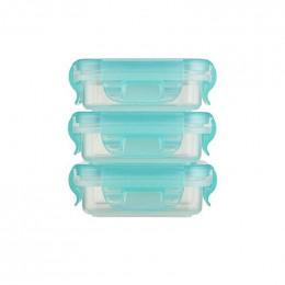 3 petites boîtes rectangulaires avec couvercles - 120 ml