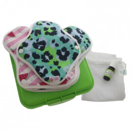 Kit complet - serviettes hygiéniques lavables ultra - Pastèques et léopard
