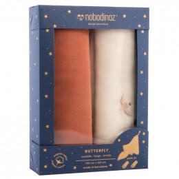 Boîte de 2 langes Butterfly - Toffee