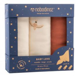 Boîte de 3 langes Baby Love - Toffee - 70 x 70 cm