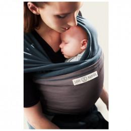 Echarpe porte bébé - Bleu Paon et Marron Glacé