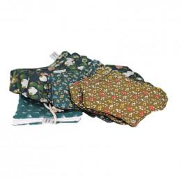 7 serviettes hygièniques lavables + pochette - Vert foncé