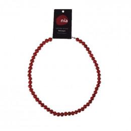 Collier perle 45 cm Jaspe rouge