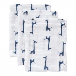 Set de 3 gants de toilette en tétra - Girafe indigo blue