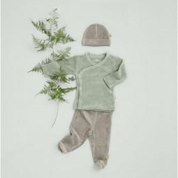 Cardigan croisé bébé en velours Forest green