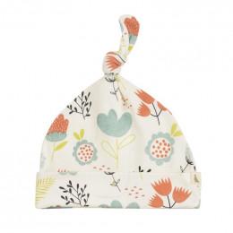 Bonnet en coton BIO - Flowers Turquoise