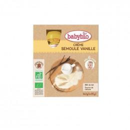Créme semoule vanille Bio - 4 gourdes de 85 g