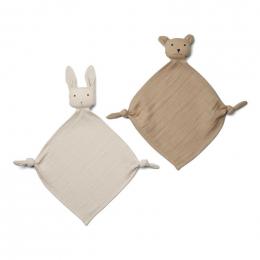 Set de 2 doudous Yoko - Sandy/stone beige